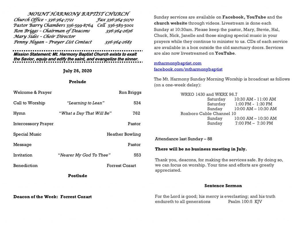 MHBC Bulletin 07-26-2020