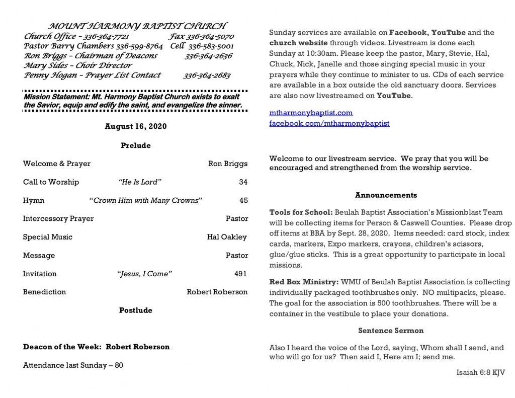 MHBC Bulletin 8-16-2020