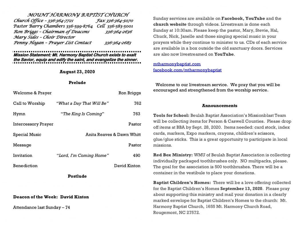 MHBC Bulletin 2020-08-23