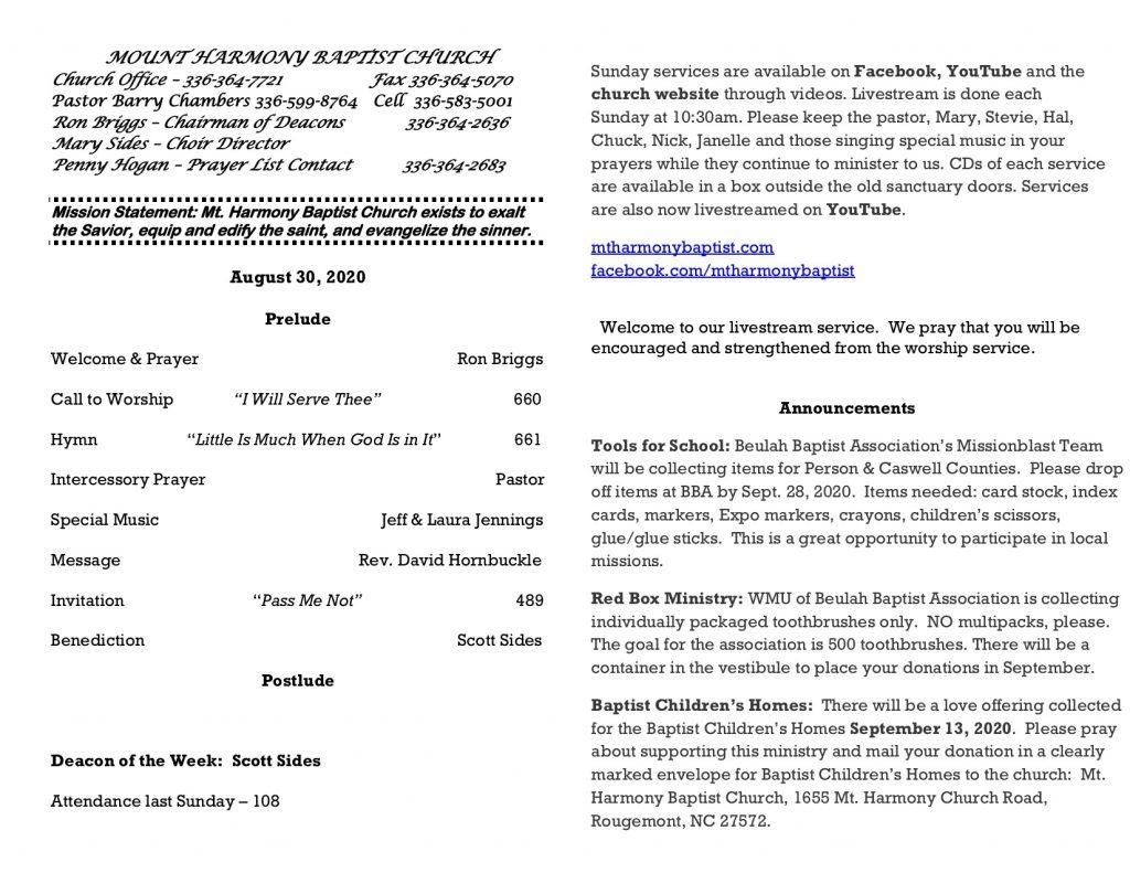 MHBC Bulletin 08-30-2020