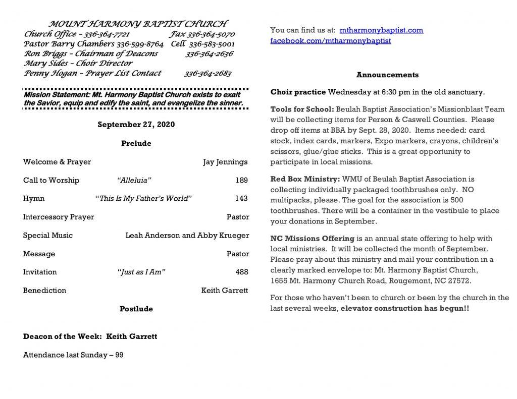 MHBC Bulletin 9-27-2020
