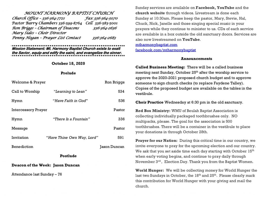 MHBC Bulletin 10-18-2020