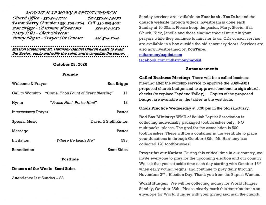 MHBC Bulletin 10-25-2020