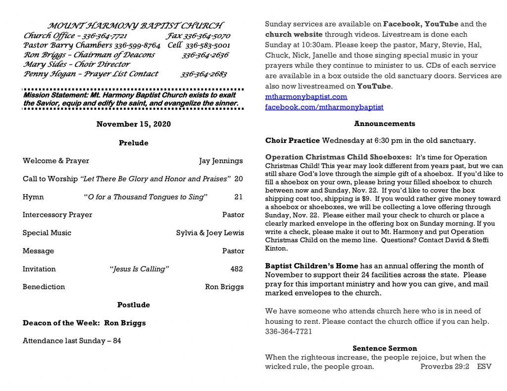MHBC Bulletin 11-15-2020