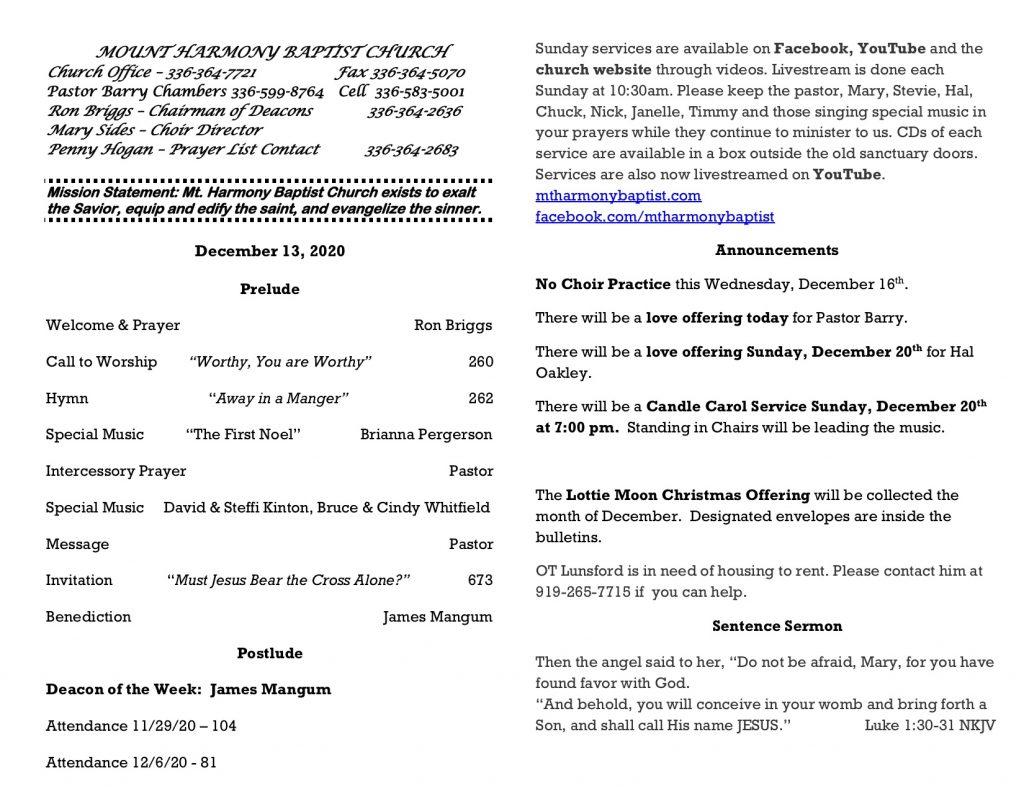 MHBC Bulletin 12-13-2020