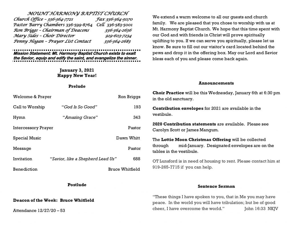 MHBC Bulletin 1-3-21